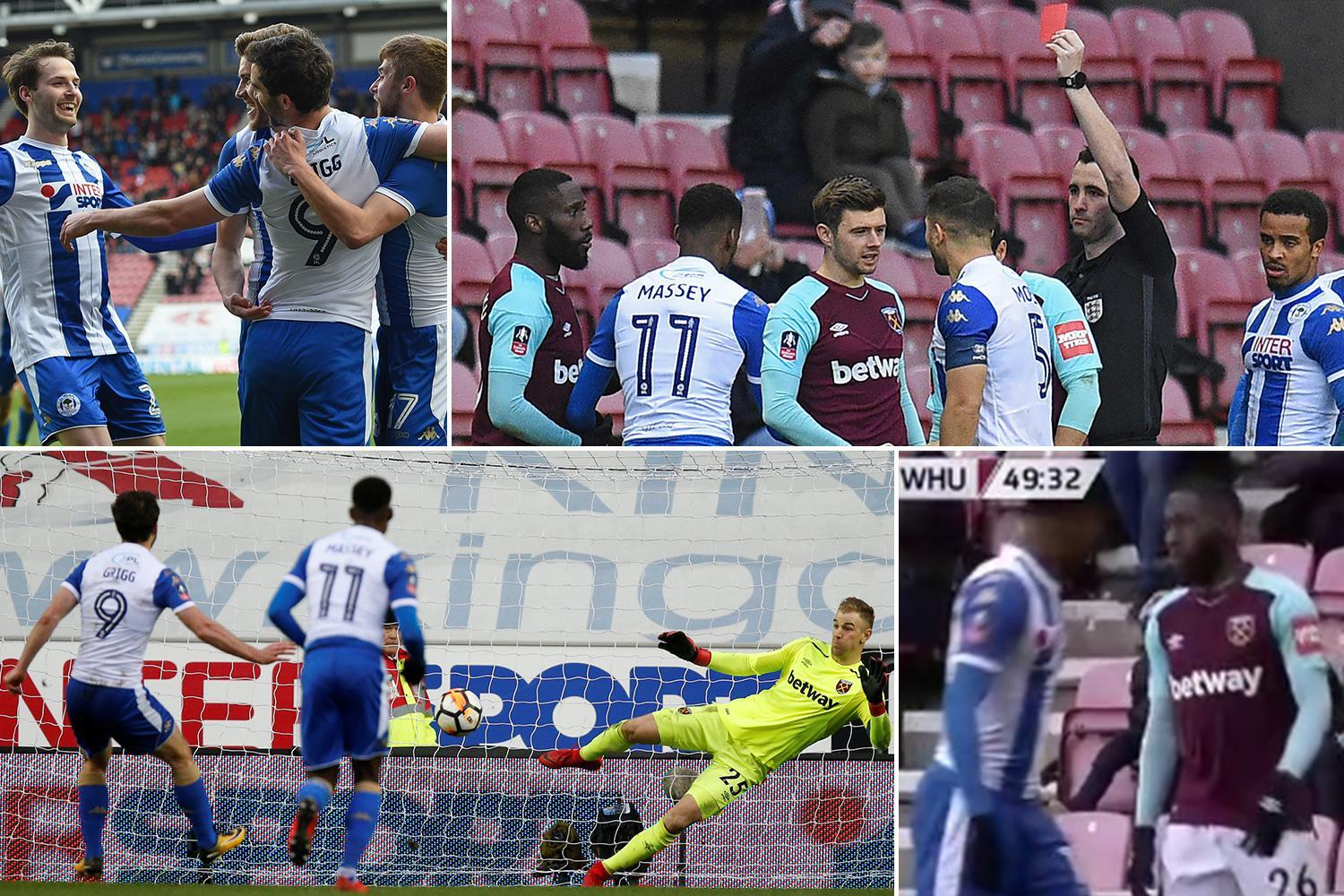 Wigan 2 West Ham 0: Will Grigg double sends Hammers crashing out with Arthur Masuaku sent off for spitting