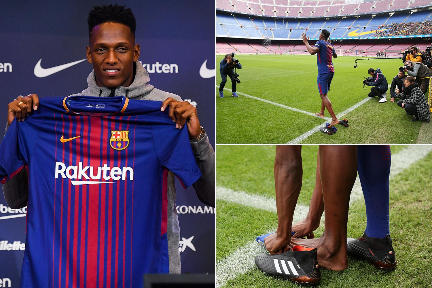Barcelona new boy Yerry Mina takes boots and socks off to walk onto Nou Camp pitch at unveiling