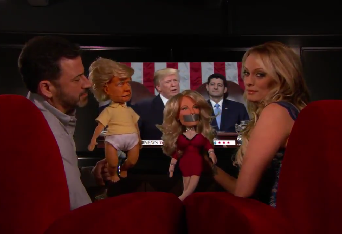 Donald Trump's alleged porn star lover Stormy Daniels DENIES she had an affair with the US president as Jimmy Kimmel uses puppets to try to coax a confession