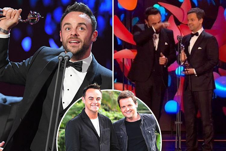 Ant McPartlin close to tears as he scoops three gongs at the National Television Awards after a 'tough year'
