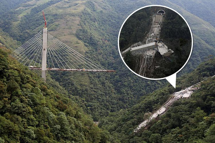 Ten labourers died after a road bridge collapsed into a deep canyon in Colombia
