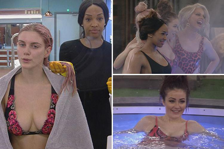 Celebrity Big Brother's Ashley James reveals new pink hair as she strips down to a bikini with Jess Impiazzi
