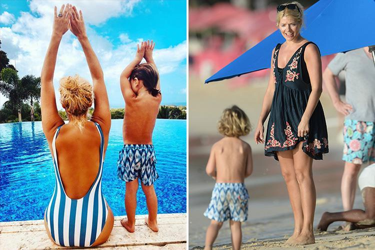 Holly Willoughby and her son wear coordinating swimwear in sweet Instagram as she soaks up the sun on holiday