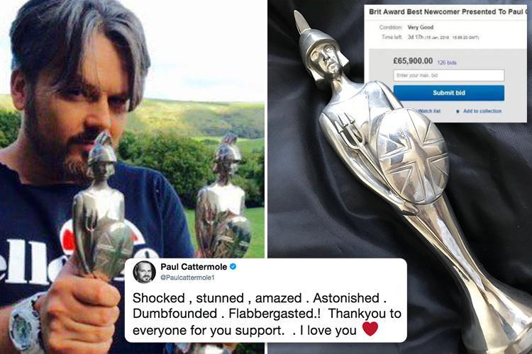 S Club 7's Paul Cattermole's BRIT award eBay auction skyrockets to £65,900 just 24 hours after failing to get a single bid
