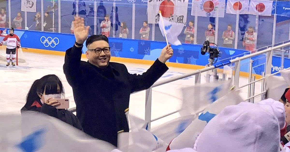 Kim Jong-un impersonator taken off by security at Olympic ice hockey game