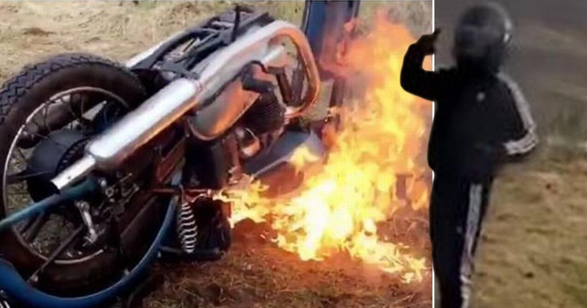 Bike thief torches vintage motorbike after issuing £1k Instagram ransom to owner