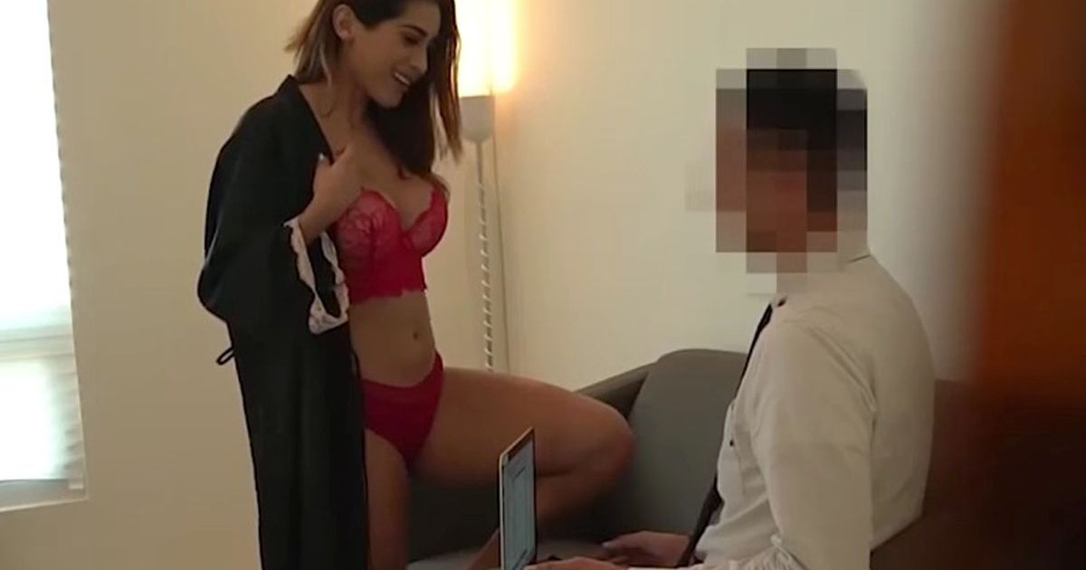 Model strips and lures man to her bed – as his furious fiancee secretly watches