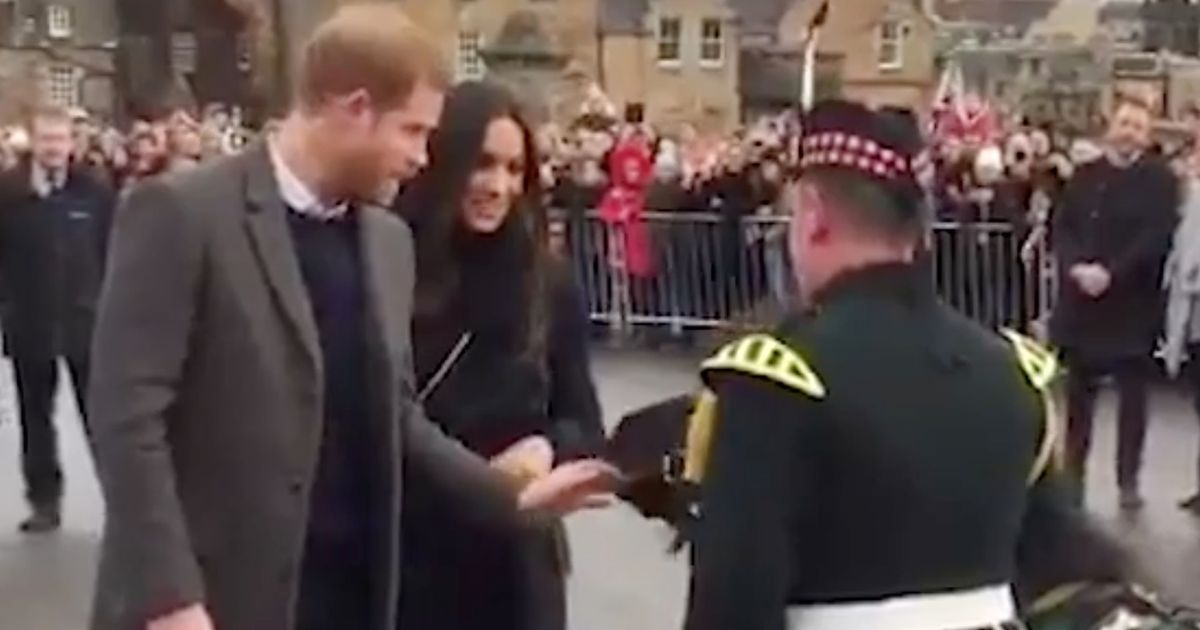 Prince Harry jumps as Shetland Pony tries to bite him – and Meghan Markle laughs