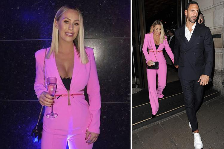Kate Wright wows in a plunging pink suit as she holds hands with Rio Ferdinand on romantic dinner date in London