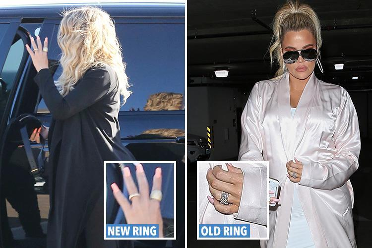 Pregnant Khloe Kardashian shows off a new ring on wedding finger as she steps out in clinging black catsuit