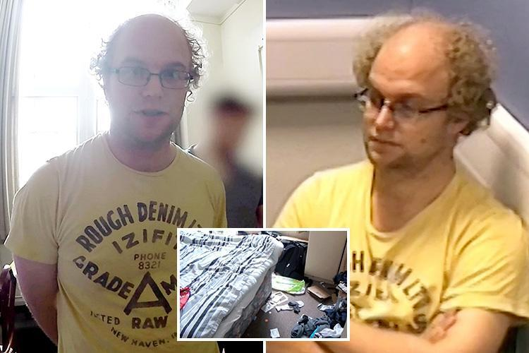 Moment twisted Cambridge grad paedo Matthew Falder caught by cops after blackmailing victims into eating dog food and sending vile images