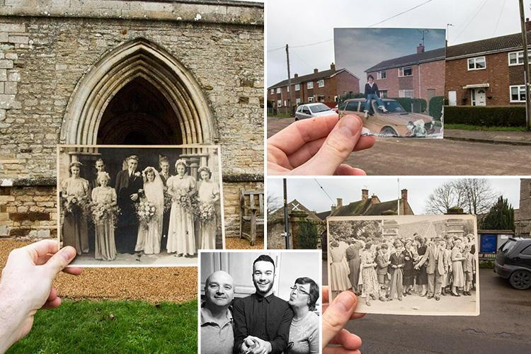 Student's heart-warming trip down memory lane by recreating family pics in same spot they were taken decades earlier