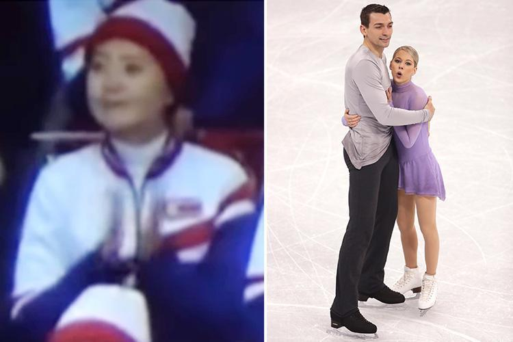North Korean cheerleader accidentally claps for American Winter Olympics figure skaters as they take to the ice at Pyeongchang 2018