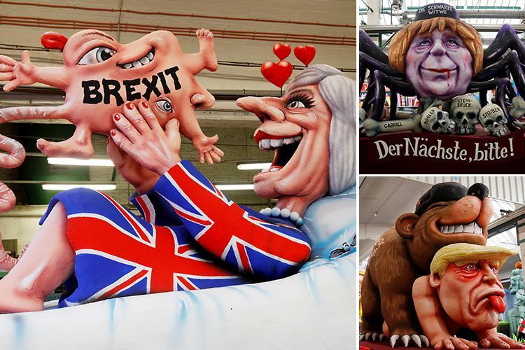 Germany's Rose Monday parade kicks off featuring bizarre floats of Theresa May giving birth to deformed Brexit baby and Donald Trump being assaulted by Russian bear