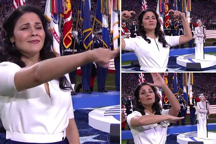 Super Bowl 2018 sign language woman steals the show from Pink as she performs a VERY passionate performance of the US national anthem