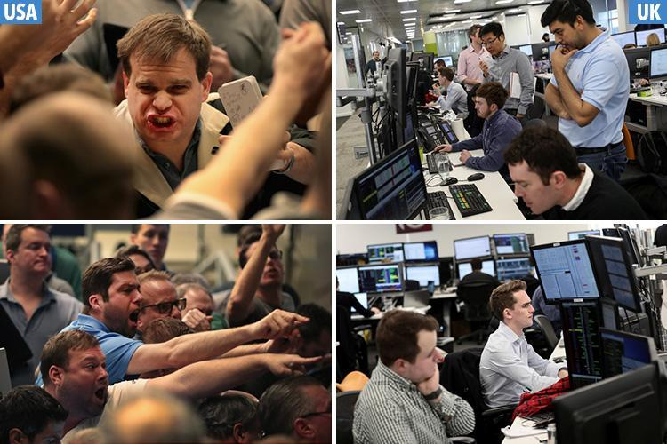 Panic-stricken US traders resemble Hollywood movie… but Brit traders look more like IT Crowd as markets tumble