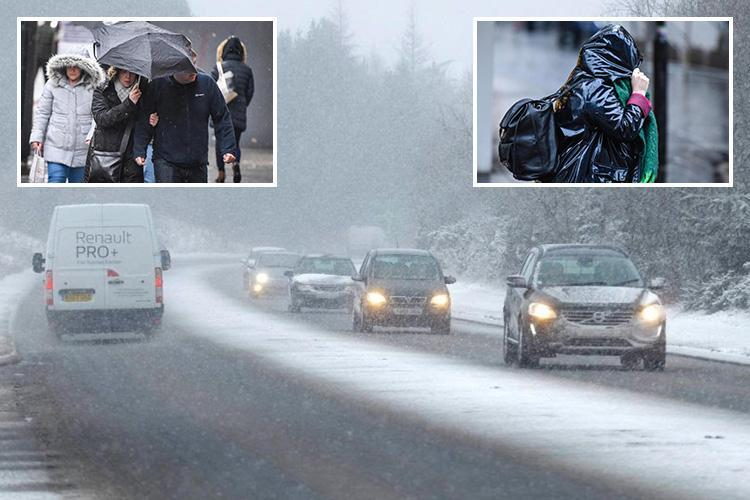 UK weather leaves two dead on rain battered roads with cops warning 'more could get hurt' as polar winds smash into Britain