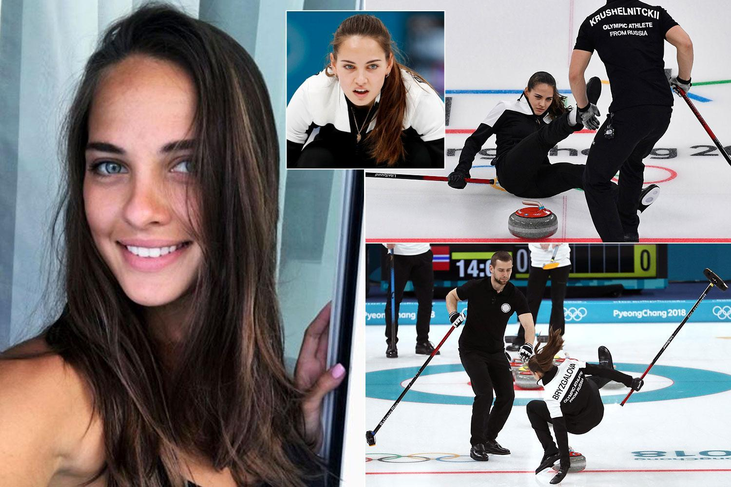 Winter Olympics 2018: Stunning Russian curler Anastasia Bryzgalova tumbles on the ice after taking internet by storm