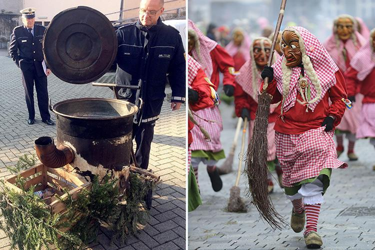 Two 'witches' drop woman, 18, into a cauldron of boiling water at German festival leaving her with horror injuries