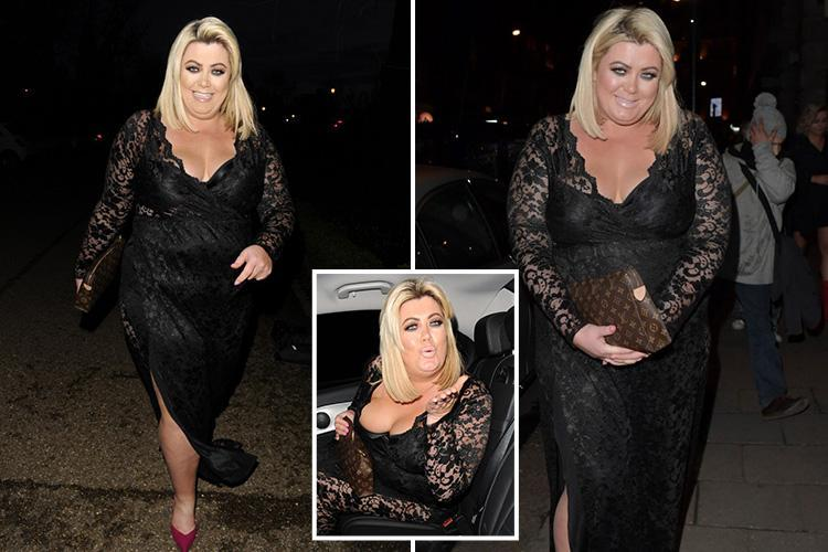 Gemma Collins Oozes Glamour In A Plunging Black Dress And Sexy Pink