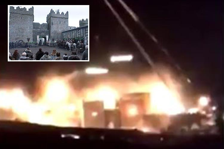 Game of Thrones spoiler: Fans spot Winterfell 'engulfed in flames' as footage from the set seems to show the Stark family home burning to the ground