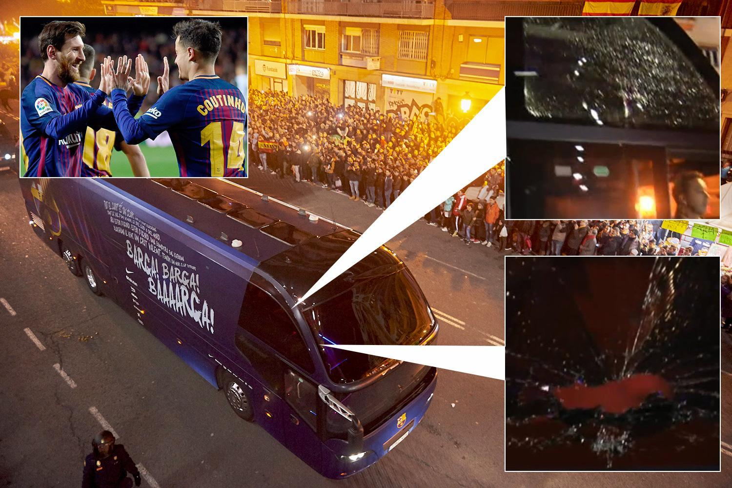 Barcelona's team bus has windows smashed by angry Valencia 'fans' after knocking rivals out of Copa del Rey