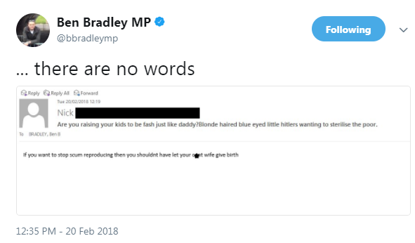 Vile Corbynista troll tells Tory his kids are 'little Hitlers' after MP's spy claims tweet