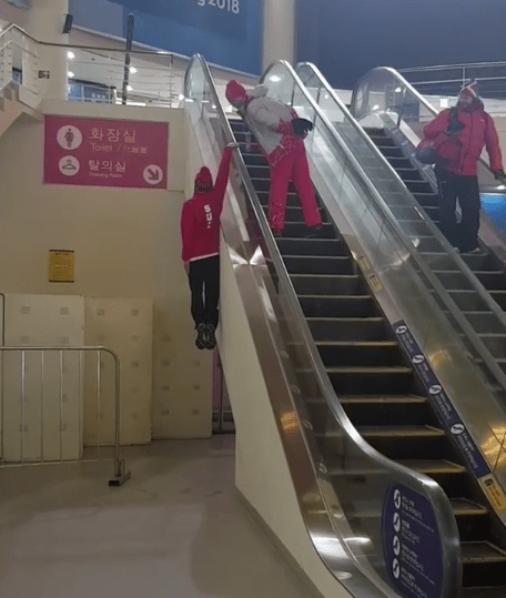 Winter Olympics 2018: Swiss skier Fabian Bosch shows off hilarious way of riding escalator in PyeongChang