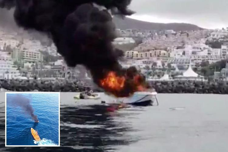 Five tourists injured as boat EXPLODES off popular Tenerife resort flinging them into the sea