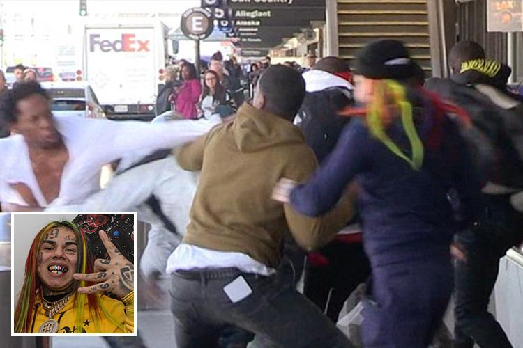 Tattoo-faced rapper Tekashi69 who is linked to the notorious Crips and Bloods gangs involved in massive Los Angeles airport brawl