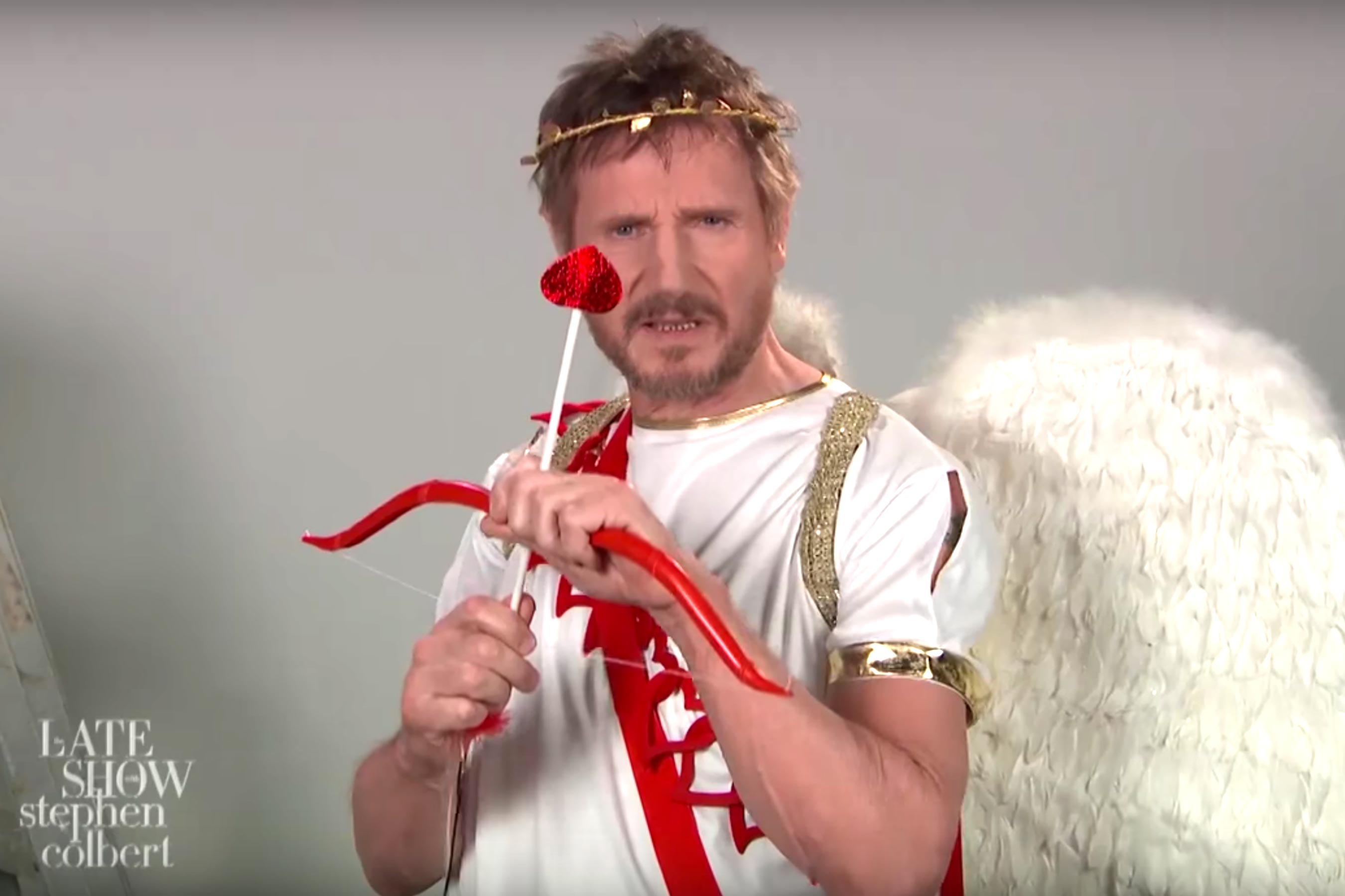 Late Show: Liam Neeson portrays Cupid as an assassin in audition