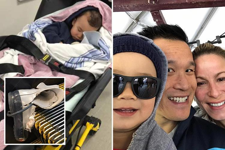 Two-year-old boy's leg is crushed by an airport escalator in front of horrified mum after his boot got wedged in machinery