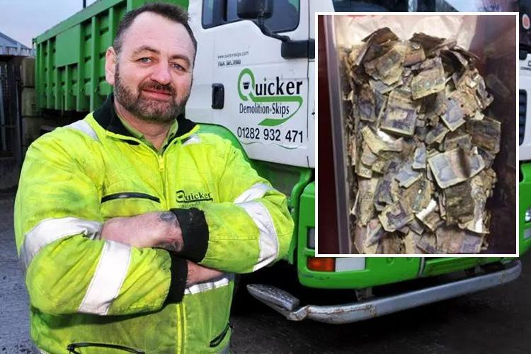 Skip workers stumbled upon bin liner filled with £20 notes worth £7k… and are now hoping Bank of England give them the cash