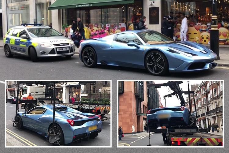 Limited edition £500k Ferrari towed away in front of shocked shoppers – because driver 'had no insurance'
