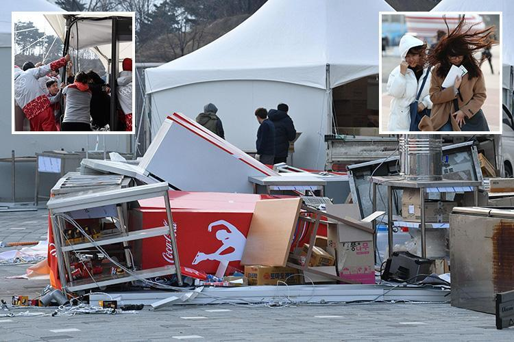 South Korea's 2018 Winter Olympic stadium hit by raging winds so strong it has to be EVACUATED amid blistering cold and norovirus outbreak