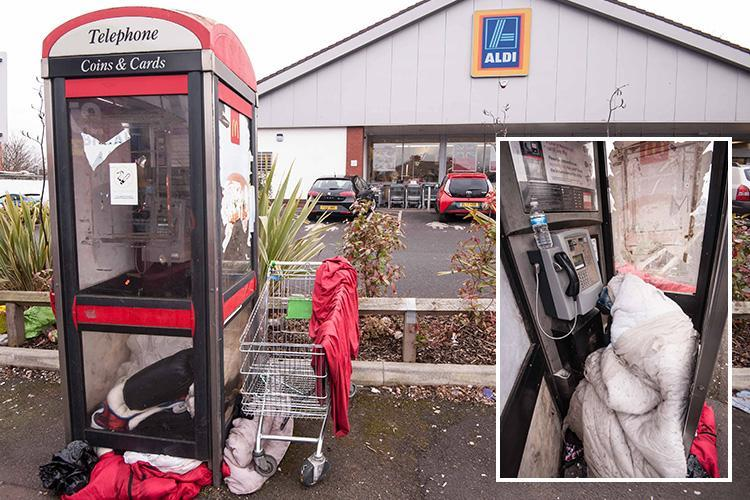 Homeless man has lived in a BT phonebox outside Aldi for the last four months