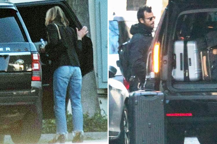 Jennifer Aniston spotted alone in LA for the first time since split announcement as Justin Theroux moves bags out of their New York home