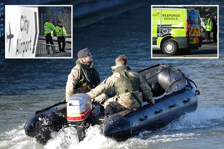 London City Airport closed as Royal Navy bomb squad pictured defusing unexploded 500kg WW2 bomb