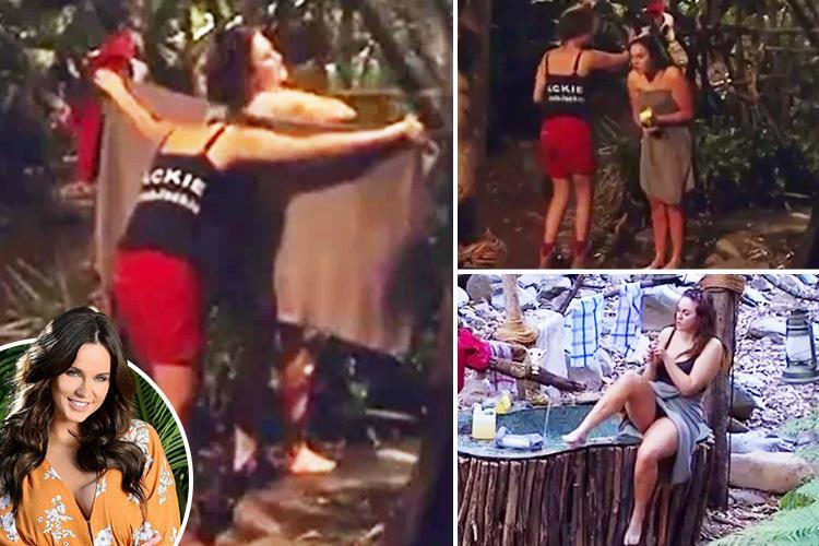 Vicky Pattison strips totally naked in the I'm A Celebrity Australia camp but fails to brave the cold jungle shower