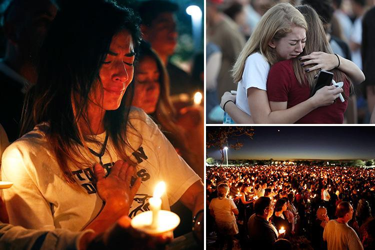 Florida shooting – More than a thousand mourners gather for candlelight vigil to pay tribute to 17 killed at school