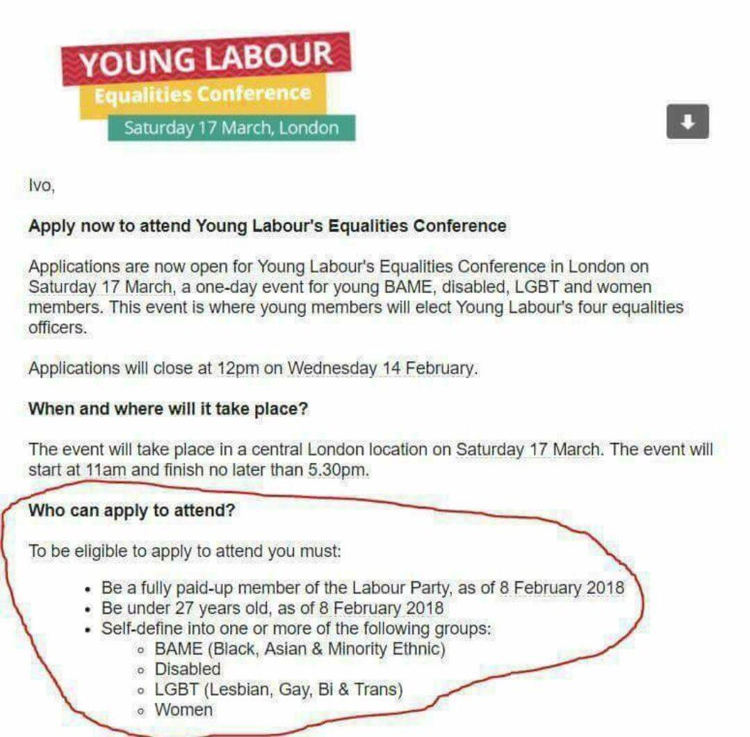 Labour accused of being 'divisive party' as equality conference reported for discrimination after men, white and straight people banned