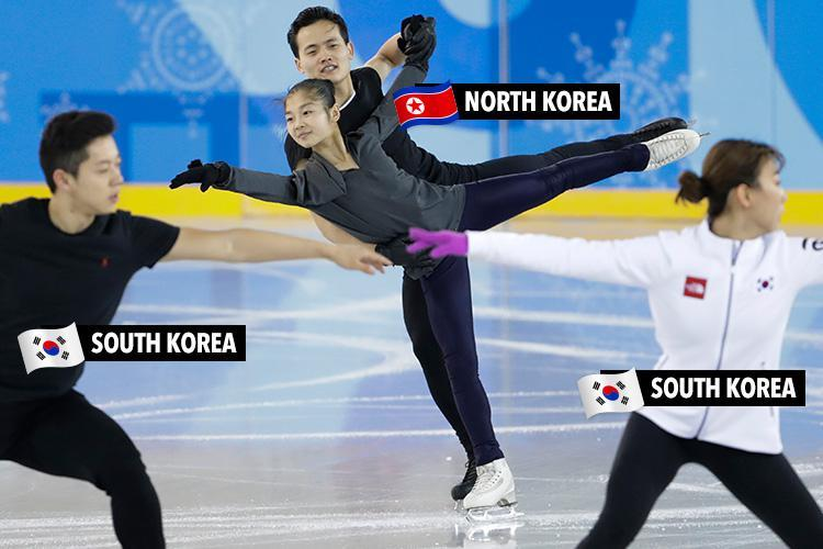 North Korean skaters share the ice with their South Korean rivals at Winter Olympic training as world awaits crunch 'Cold War thaw' talks