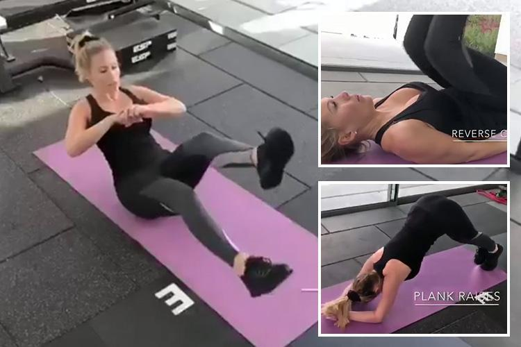 Kate Wright shows off incredible figure as she reveals her abs workout