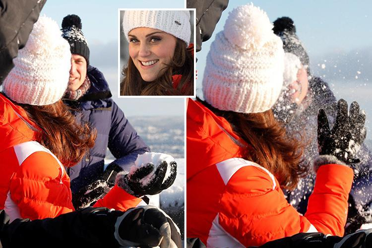 Playful Kate Middleton throws a snowball at Prince William as pair pair enjoy themselves on snow-hit trip to Norway