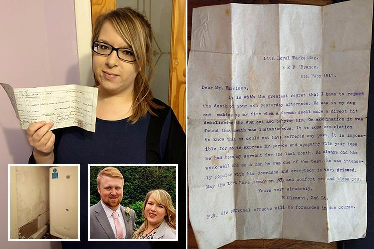 Couple find World War One letters hidden in their bathroom wall revealing heartbreaking story of British soldier – exactly 101 years after he died