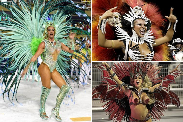 Brit beauty Samantha Flores steals the show at Rio carnival as half-naked dancers parade in skull headdresses and vampire fangs