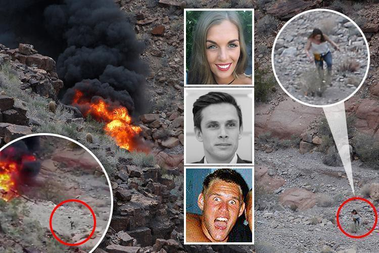 Incredible moment Brit survivor stumbles out of Grand Canyon chopper crash wreckage that killed 3 pals