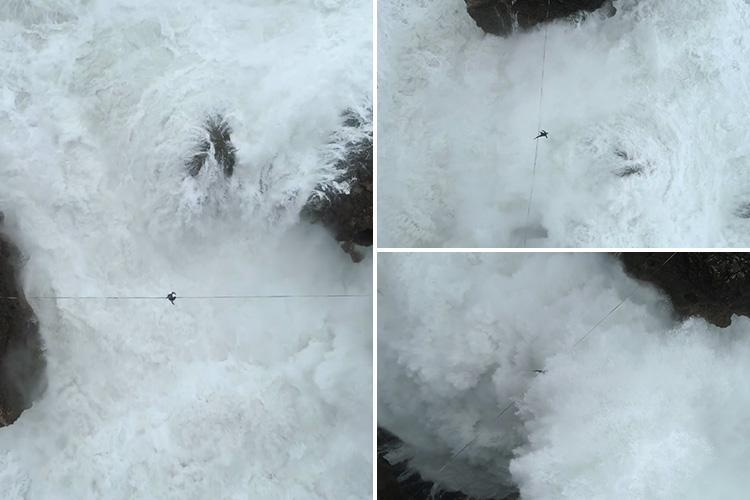 Drone video shows daredevil falling off a highwire and being engulfed by a giant wave in heartstopping stunt above jagged cliffs in Portugal