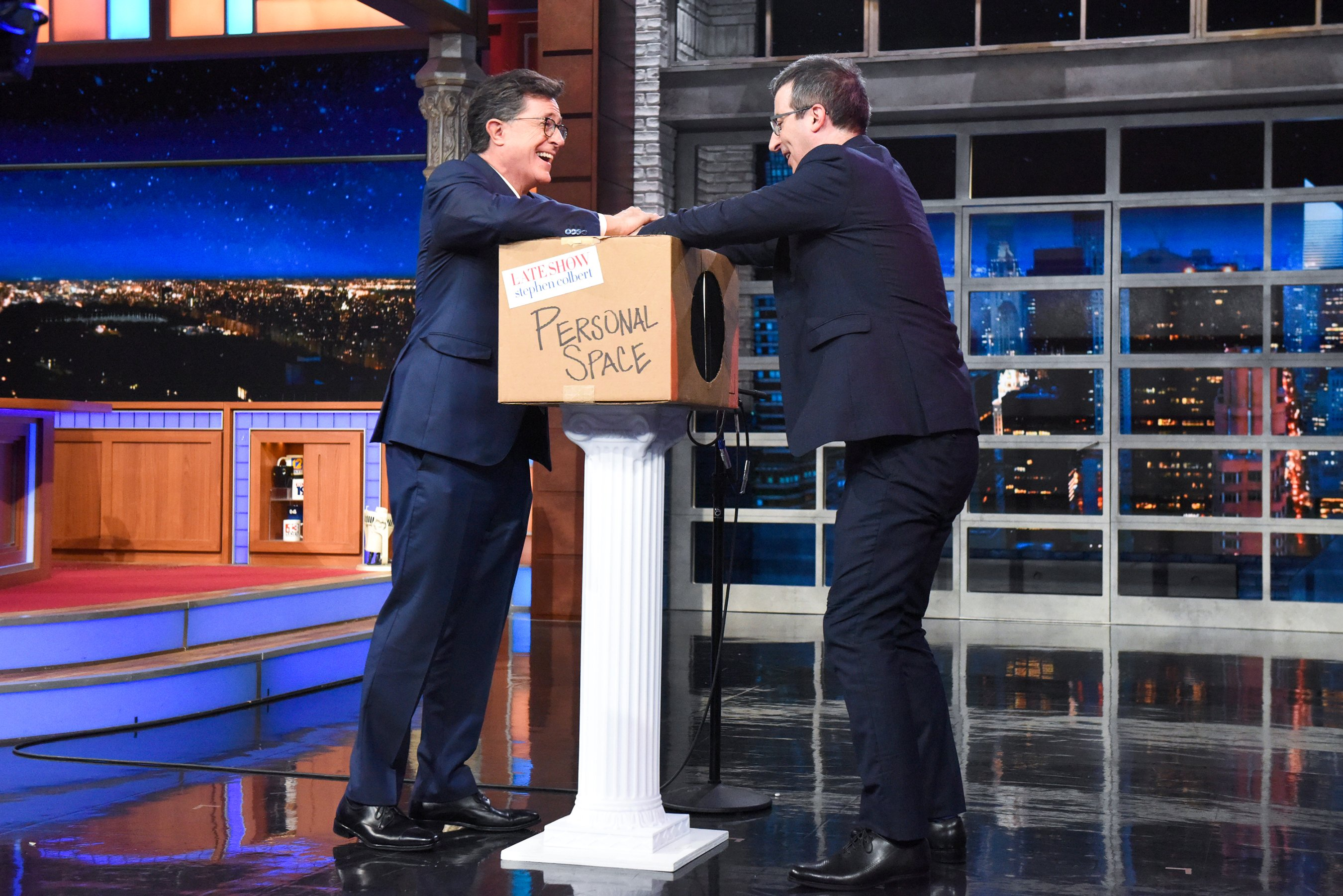 John Oliver, Stephen Colbert get too close for comfort in Personal Space