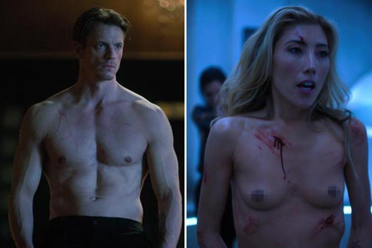 Former Neighbours star Dichen Lachman and Joel Kinnaman strip naked in Altered Carbon